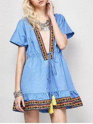 Plunging Neckl Mini Embroidered Dress - BLUE