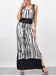 Ink Print Split Sleeveless Popover Maxi Dress