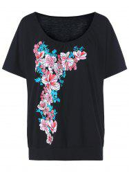 T-shirt floral à col taille grande taille -