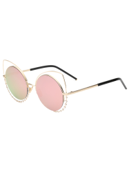 Hollow Out Cat Eye Rhinestone Round Mirror Sunglasses - PINK