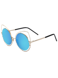 Hollow Out Cat Eye Rhinestone Round Mirror Sunglasses