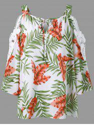 Lace Panel Cold Shoulder Hawaiian Blouse -