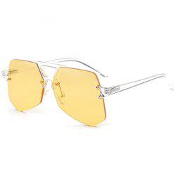 Hollow Out Crossbar Geometric Rimless Sunglasses