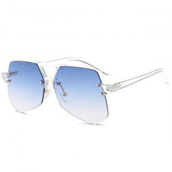 Hollow Out Crossbar Geometric Rimless Sunglasses - LIGHT BLUE