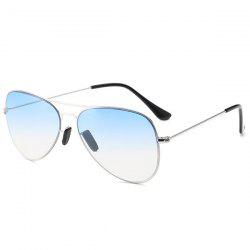 Metal Crossbar Ombre Pilot Sunglasses - LIGHT BLUE
