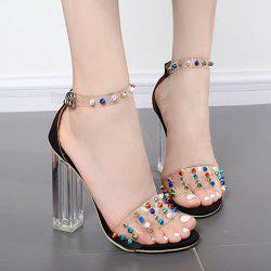 Ankle Strap Rivets Chunky Heels Sandals