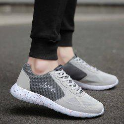 Embroidery Mesh Athletic Shoes - GRAY
