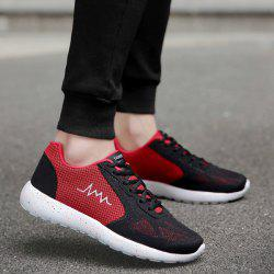 Embroidery Mesh Athletic Shoes - RED