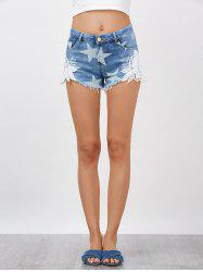 Star Cut Off Denim and Lace Shorts - DENIM BLUE