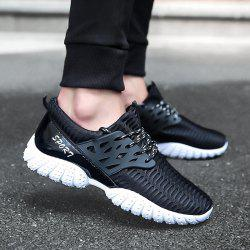 Breathable Patent Leather Mesh Athletic Shoes - BLACK