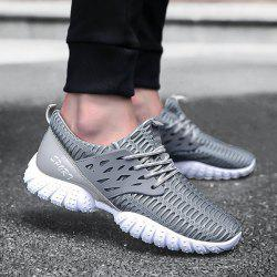 Breathable Patent Leather Mesh Athletic Shoes - GRAY