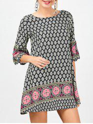 Printed Bohemian Tunic Dress - COLORMIX