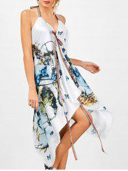 Butterfly Print Halter Backless Handkerchief Dress