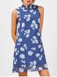 Floral A Line Chiffon Dress - BLUE