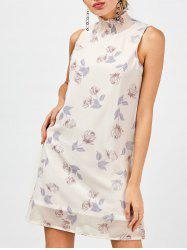 Floral Chiffon Dress - LIGHT BEIGE