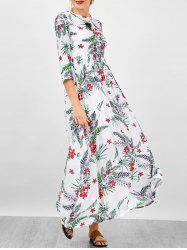 Floral A Line Long Sleeve Flowing Maxi Dress