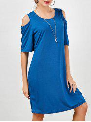 Cold Shoulder Knee Length Casual T-Shirt Dress