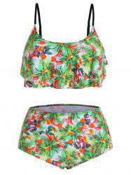 Ruffle Tropical Floral Print Plus Size High Waist Bikini Set