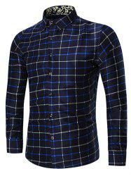 Plus Size Long Sleeve Grid Shirt - BLUE
