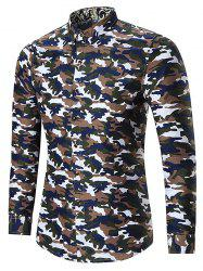 Plus Size Long Sleeve Camouflage Shirt - COFFEE