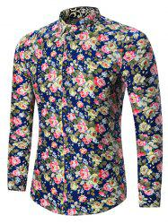 Plus Size All Over Floral Printed Shirt - CADETBLUE