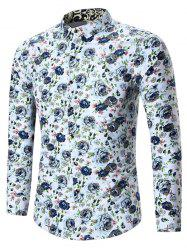 Plus Size All Over Floral Printed Shirt - WHITE 7XL