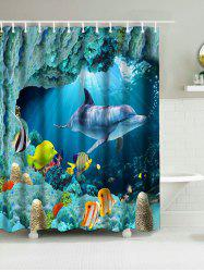 Dolphins Sea World Print Waterproof Bathroom Shower Curtain