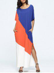 Color Block Slit Short Sleeve T-Shirt Maxi Dress