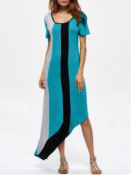 Asymmetrical Color Block Maxi T Shirt Dress
