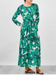 Chiffon Palm Leaf Print Floor Length Dress