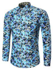 Plus Size All Over Floral Printed Shirt - BLUE