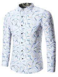 Rice Ear Print Plus Size Shirt - WHITE 7XL
