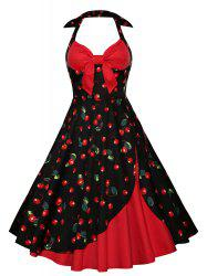 Cherry Print Halter Skater Vintage Evening Dress - RED