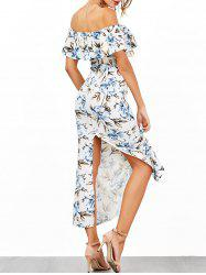 Off The Shoulder Floral Print Flounce Dress