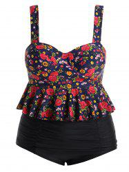 Plus Size Floral High Waisted Tankini Swimsuit