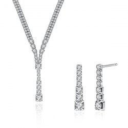 Rhinestoned Geometric Pendant Wedding Jewelry Set