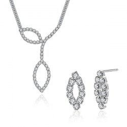 Rhinestone Leaf Pendant Necklace and Earrings