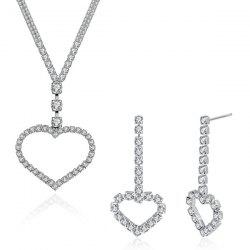 Rhinestone Heart Pendant Necklace and Earrings