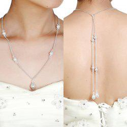 Faux Pearl Rhinestone Teardrop Backdrop Necklace