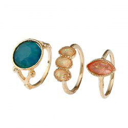Faux Gemstone Geometric Ring Set - GOLDEN