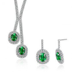 Rhinestone Faux Emerald Oval Jewelry Set