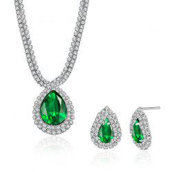 Rhinestone Faux Emerald Teardrop Pendant Jewelry Set