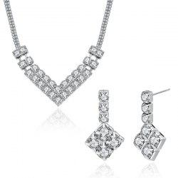 Rhinestoned Geometric V Shaped Jewelry Set