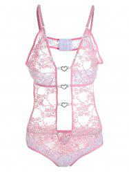 Plunge Lace See Thru Plus Size Teddy - PINK