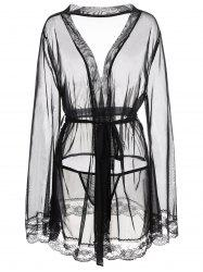 Plus Size Mesh See Thru Intimate Robe - BLACK