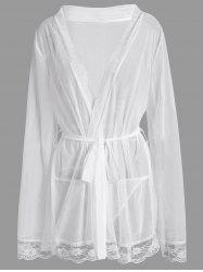 Plus Size Mesh See Thru Intimate Robe - WHITE