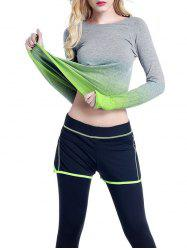 Running Ombre Yoga Long Sleeve Gym Top - GREEN L