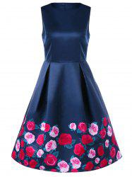 Sleeveless Floral Retro Dress - PURPLISH BLUE M