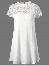 Lace Panel Openwork Insert Flapper Dress - WHITE M