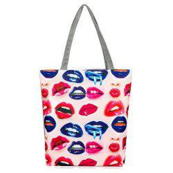 Canvas Lips Print Shopper Bag - MULTICOLOR